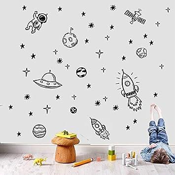 Raumschiff Astronaut Kreative Vinyl Wandaufkleber Junge Zimmer Maus Weltraum Wandtattoo Kinderzimmer Kinderzimmer R65x42cm Amazon De Baumarkt