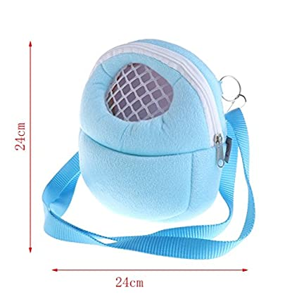 Poity Portable Pet Carrier Bag Hamster Rat Hedgehog Chinchilla Ferret Carrier Warm Hanging Bag for Small Animals (Blue S