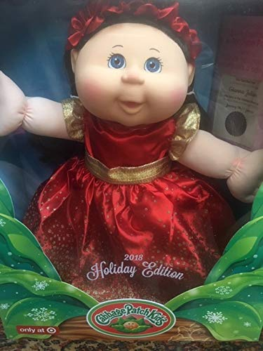 (Cabbage Patch Kids 2018, Holiday Edition Brown Hair, Blue Eyes, Red Sparkle Dress,)