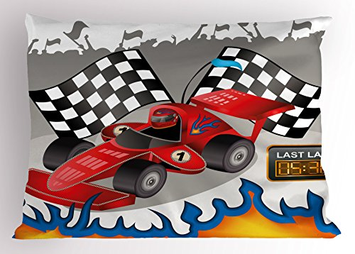 Lunarable Kids Pillow Sham, Race Car with Finish Line Flags Pilot and Flames with Abstract Gray Background Print, Decorative Standard Queen Size Printed Pillowcase, 30 X 20 Inches, (30 Car Case)