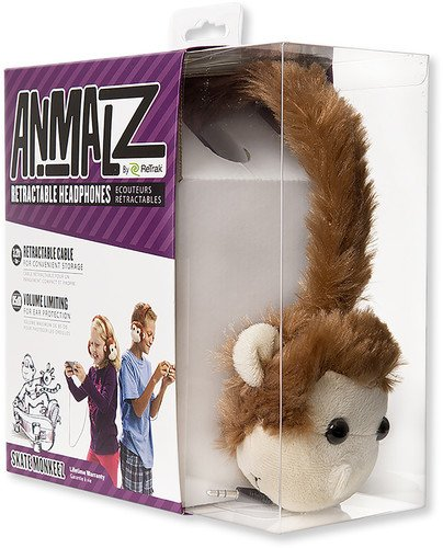 ReTrak Retractable Animalz Tangle-Free, Volume Limiting (85 dB) Over Ear Headphones for Kids, Brown Monkey (ETAUDFMNKY)