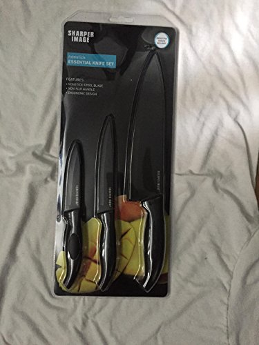 SHARPER IMAGE Stainless Steel Kitchen Knife Set 3 PC Paring Utility Chef Cutlery Knives with Cover NonSlip Handle, Ergonomic Design