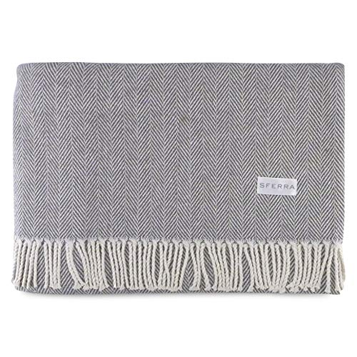 Sferra Celine Herringbone, 100% Cotton Throw Blanket - Charcoal from Sferra