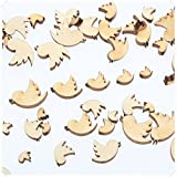 yuhoshop: 100 pcs [Twitter Bird Shaped] Mini Mixed Small Wooden Embellishments - Scrapbooking Shapes for Craft Decor Button
