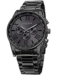 dd06bfcf6 Akribos Multi-Function Stainless Steel Bracelet Watch - Three Hand Movement  with Two Time Zones
