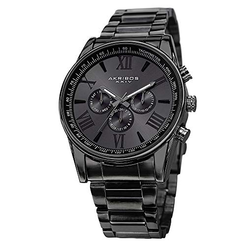 Akribos XXIV Men's AK736 Ultimate Swiss Quartz Multi-Function Stainless Steel Bracelet Watch (Black on Black)