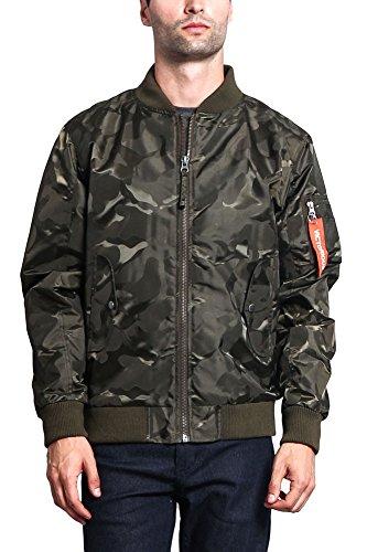 G-Style USA Men's Lightweight Tonal Camo Bomber Flight Jacket JK774 - Olive - X-Large - - Jacket Kids Camouflage Flight