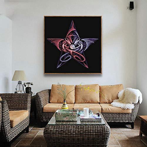 Bitoufou 5D DIY Full Diamond Diamond Painting Pterosaur Five-Pointed Star Diamond Painting Bedroom Living Room Decorative Painting Cross Stitch Round Diamond Stickers 30x40