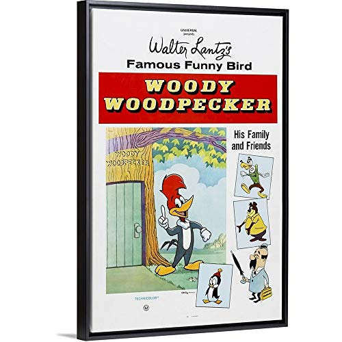 Floating Frame Premium Canvas with Black Frame Wall Art Print Entitled Woody Woodpecker, 1950's 32