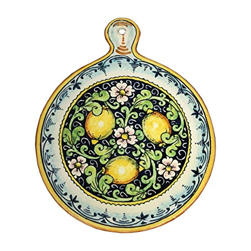 (CERAMICHE PARRINI - Italian Ceramic Art Utensil Kitchenware Tile Trivet Pottery Decorated Lemons Hand Painted Made in ITALY Tuscan)