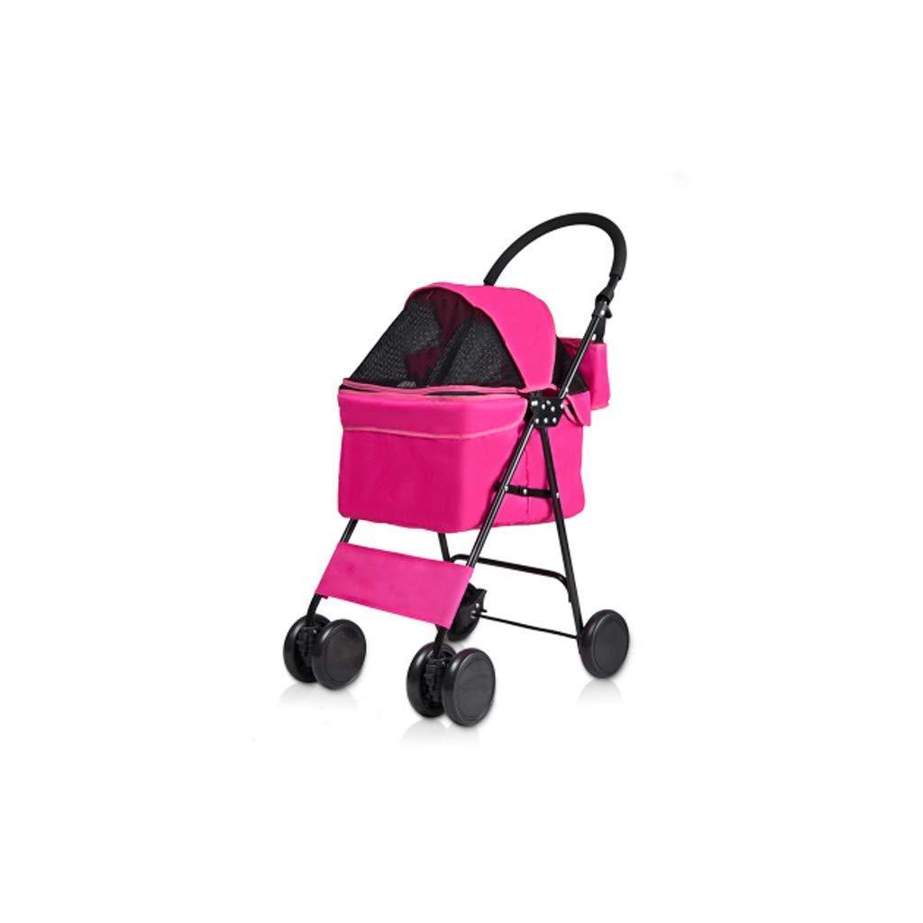 Pet Stroller Lightweight Folding Waterproof Stroller Absorber Dog for Cat Sunscreen Wheeled Car Travel,Pink