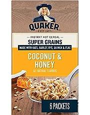QUAKER Super Grains Coconut & Honey Instant Oatmeal (6 Packets x 56 g), 336 g