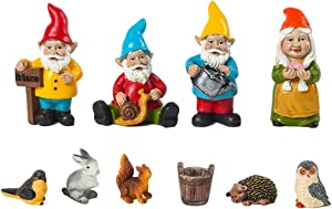 Houchu 10pcs/Set Dwarf Decoration Set, Resin Figurine Fairy Garden Dwarf Miniature Funny Gnomes Elf Fairy Garden Decor Micro Landscape