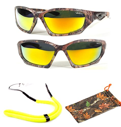 (#56025 Yllw) Polarized Lenses Camouflage Sunglasses with Camo Microfiber Pouch & Floating Cord For Water Activities- Sunglasses will FLOAT on - Discount On Sunglasses