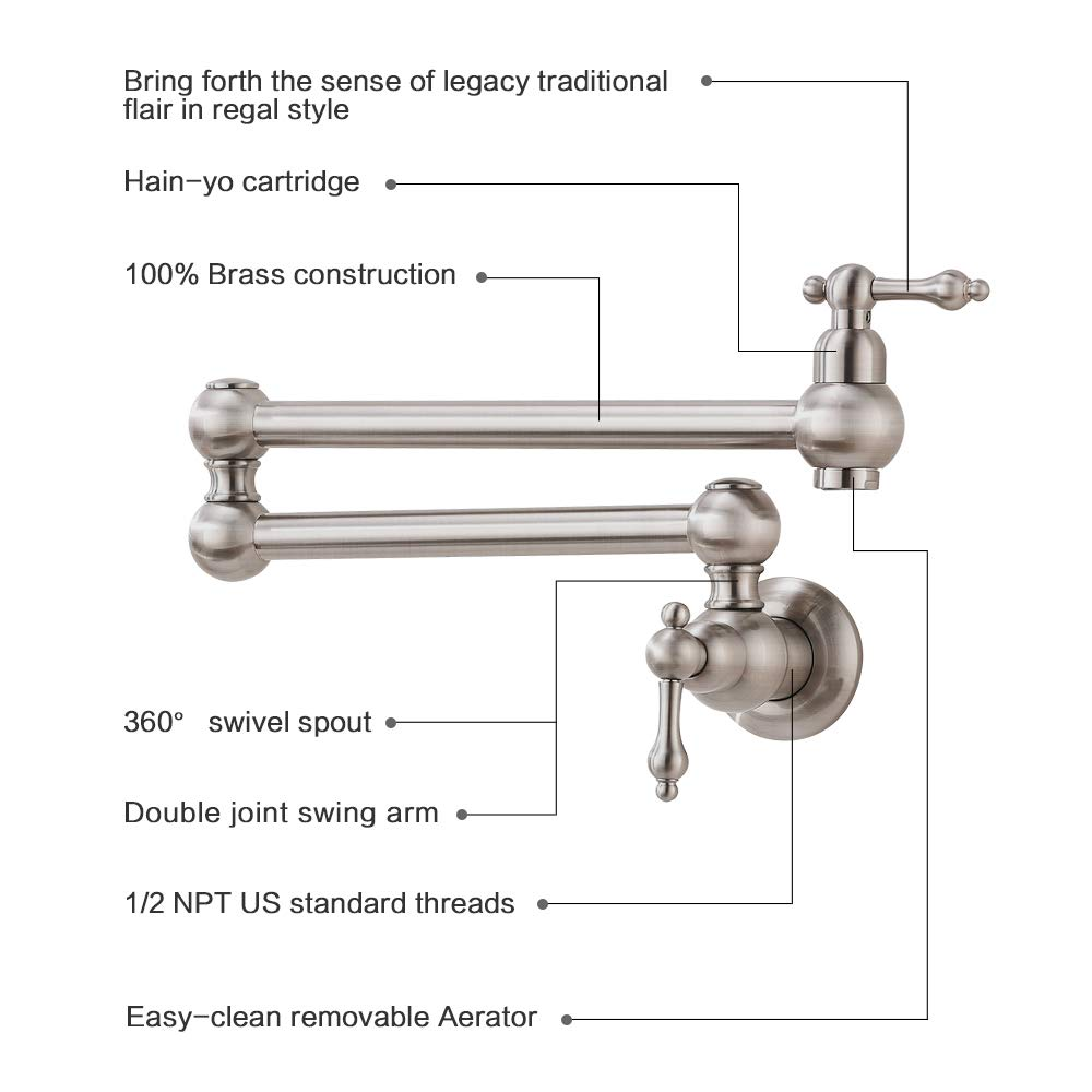 VOKIM Pot Filler Commercial Double Handle Wall Mount Brushed Nickel Pot Filler Faucet, Brushed Nickel Kitchen Faucet by VOKIM (Image #4)