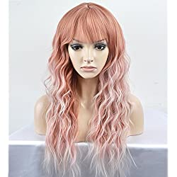 RightOn 23'' Women Girls Lovely Synthetic Mix Color Long Curly Wigs Pin Curls with Neat Bangs Hairnet Included (Pink Mix Silvery White)