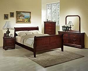 Roundhill furniture isola 5 piece louis - 5 piece queen sleigh bedroom set ...