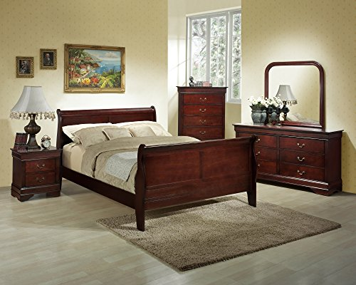 Cherry Bedroom Furniture Set Wood (Roundhill Furniture Isola 5-Piece Louis Philippe Style Sleigh Bedroom Set, Queen Bed, Dresser Mirror and 2 Night Stands, Cherry Finish)