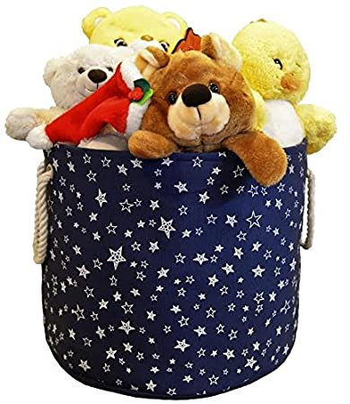 Large Eco Friendly Canvas Toy Storage Baskets Storage Bins Nursery Bins  With Handles (Navy