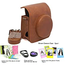 Fujifilm Instax Mini 90 Instant Camera Accessory Bundles Set (Included: Brown Mini 90 Vintage Case Bag/ Mini 90 Close-Up Lens(Self-Portrait Mirror)/ 3 Inch Photo Frame/ Colorful Decor Sticker Borders)