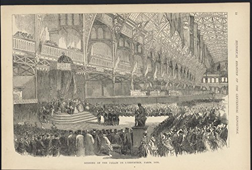 Opening Palace Industry Paris 1855 Architecture 1876 antique wood engraving