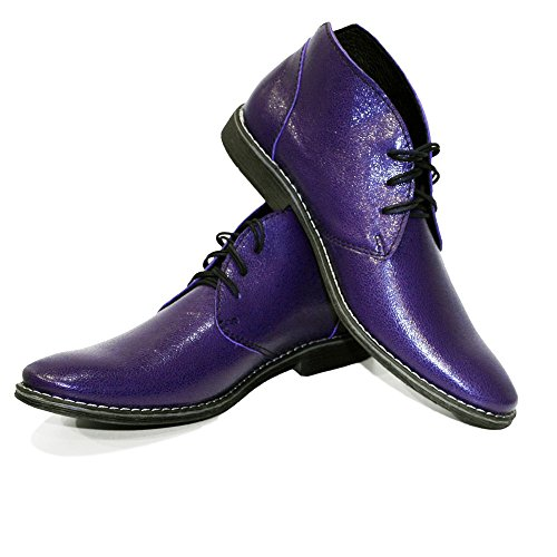 Modello Chubrio - Handmade Italiennes Cuir Pour Des Hommes Violet Bottes Chukka Bottines - Cuir de vachette Suède - Lacer delicate