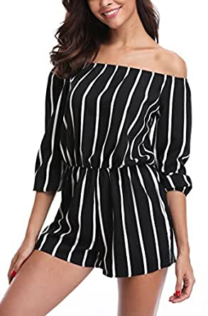 MISS MOLY Jumpsuits for Women Rompers Elegant Off The Shoulder Striped 3/4 Sleeves Cute Summer Playsuits (Black 1, XS/US 02)