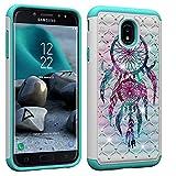 Aiyze Compatible Samsung Galaxy J7 2018 Case,J7 Aero/J7 Star/J7 Top/J7 Crown/J7 Aura/J7 Refine/J7 Eon Cover Dual Layer Hybrid Hard Soft Back Protective Coloured Drawing Glitter Diamond Dream Catcher
