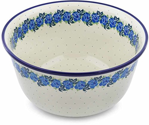 Polish Pottery 8 quarts Mixing Bowl made by Ceramika Artystyczna (Blue Garland Theme) + Certificate of Authenticity
