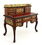 Melody Jane Dolls House Chinese Hand Painted Walnut Ladies Writing Desk Miniature Furniture