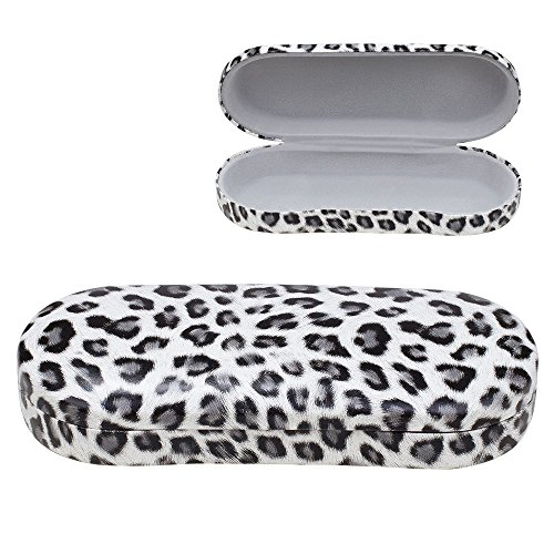 Hard Clamshell Eyeglass Case, Leopard Print Protective Glasses and Sunglasses Holder - For Kids & Adults, Men & Women - Gray - by - Sunglasses On Print