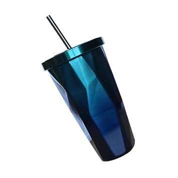 Doppelwandiger Trinkbecher Coffee to Go Becher mit Stohhalm und Deckel Tasse