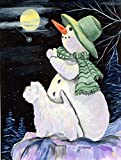 Caroline's Treasures SS8797CHF Snowman with Westie Flag Canvas, Large, Multicolor For Sale