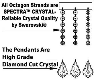 Swarovski Crystal Trimmed Chandelier Chandelier Chandeliers Lighting Dressed with Swarovski Crystal H 25 W 24