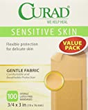 "Curad Sensitive Skin Bandages, 3/4"" x 3"", 100/Box"