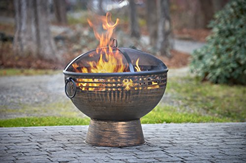 "Good Directions FB-5 Oversized Eagle Fire Bowl with Spark Screen, 26"" x 26"" - With its beautiful spherical form, Good Directions deep Copper finish extra large fire bowl Sets every outdoor gathering ablaze with a great ball of fiery excitement Oversized allows for a longer lasting fire Hand-hammered Steel with Copper finish - patio, outdoor-decor, fire-pits-outdoor-fireplaces - 51PDPN2YJ0L -"
