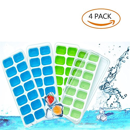 - Ice Cube Trays with Lids, FLY Easy-Release Silicone and Flexible 14-Ice Trays with Spill-Resistant Removable Lid, 4-Pack Ice Cube Molds for Whiskey, Cocktail, Beverages (Blue & Green)