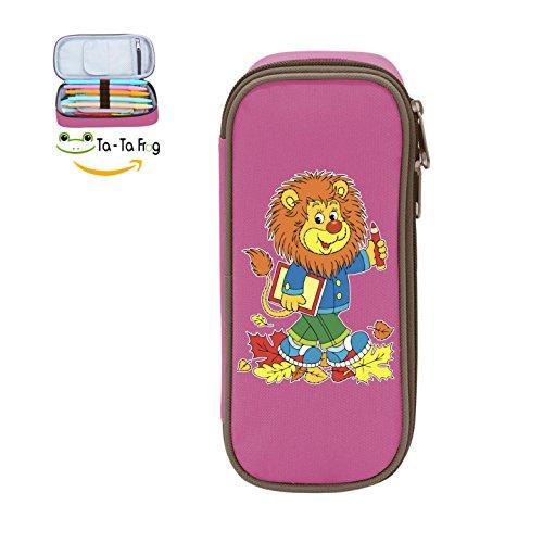 Pen Case Cartoon Lion Pencil Bag Big Capacity Multifunction Canvas-Pink for kids -
