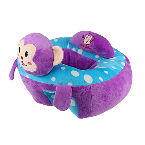 MonkeyJack Colorful Baby Support Seat Learn Sit Soft Chair Cushion Sofa Plush Pillow Toys - Purple Monkey Infant Support Cushion