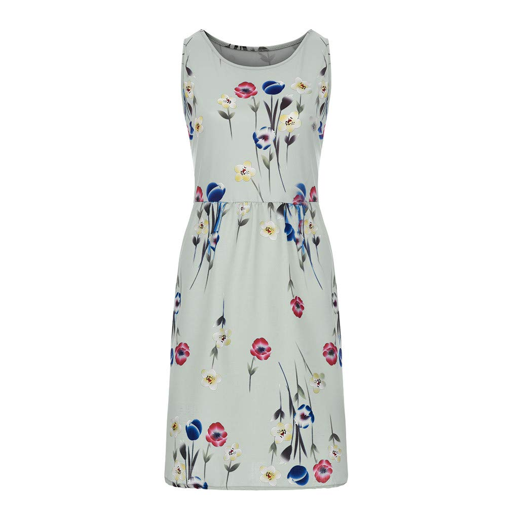 M-5XL Woman Sexy Oversize Floral Print Dresses Casual Strap Plus Size Pendulum Skirts Fashion Sleeveless Loose Beach Clothes (Beige, X-Large)