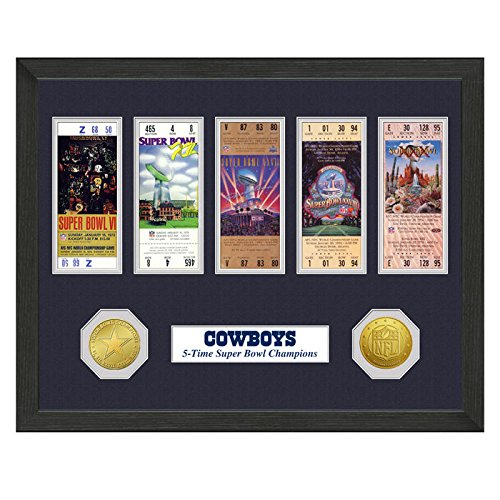 Dallas Cowboys Framed Super Bowl Tickets and Coins (Bowl Wall Art)