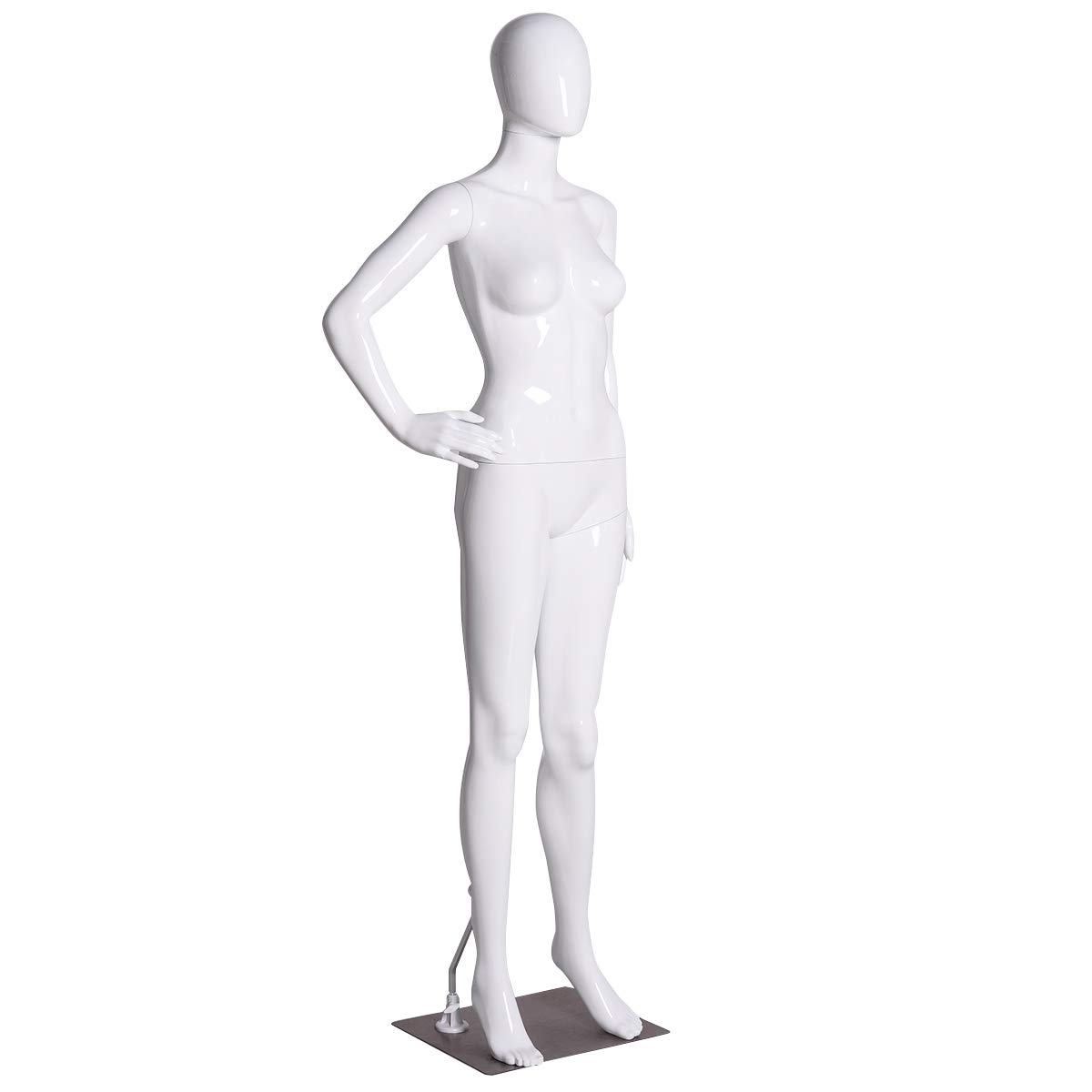 Giantex Female Mannequin Stand Dress Form Full Body Plastic Display Head Turns Dress Form (White, One Hand On Hip Mannequin)
