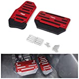 AUTOPDR Non-slip Car Brake Accelerator Gas Pedals Pads Covers Foot Brake Extenders Cover Pad Automotive Kick Panels for Car Auto Vehicle Motorcycle Aluminium (Red-automate)