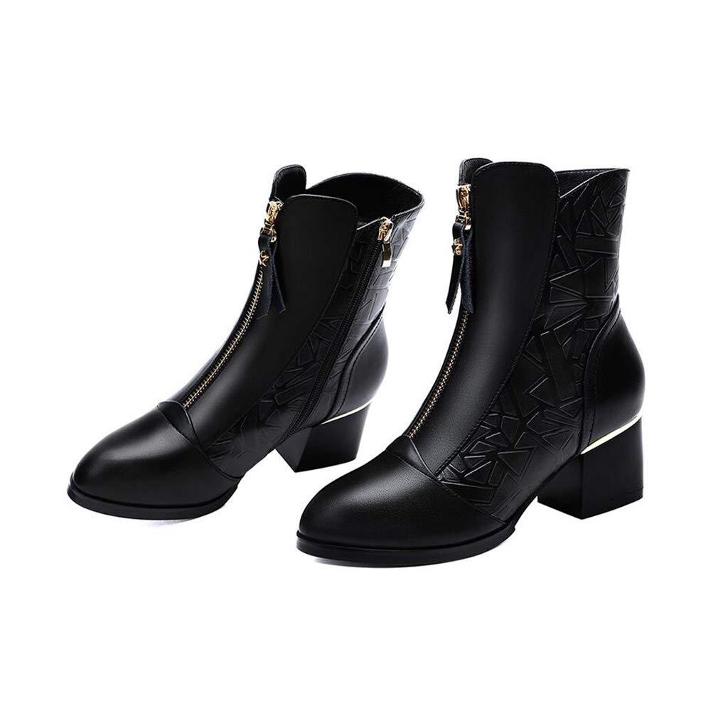 YIWU Damenschuhe 2019 Spitzen Stiefelies Britischen Stiefelies Spitzen Weibliche Plus Samt Halten Warme Dicke Ferse Stiefel Weibliche Martin Stiefel (Farbe   Schwarz, Größe   EU39 UK6.5 CN40) 5910b3