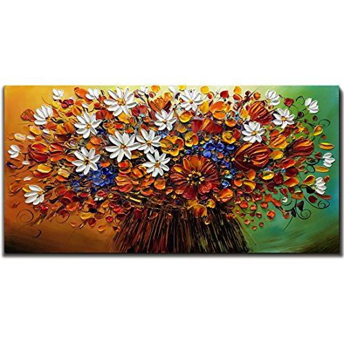Yotree Paintings, 24x48 Inch Paintings Brilliant flowers Oil Hand Painting Painting 3D Hand-Painted On Canvas Abstract Artwork Art Wood Inside Framed Hanging Wall Decoration Abstract Painting by Yotree (Image #7)