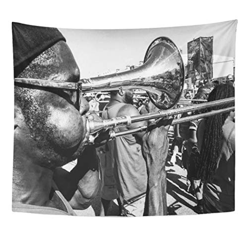 Semtomn Tapestry Artwork Wall Hanging Jazz Music is Life Fest Nola Orleans Trumpet Parade 50x60 Inches Tapestries Mattress Tablecloth Curtain Home Decor Print