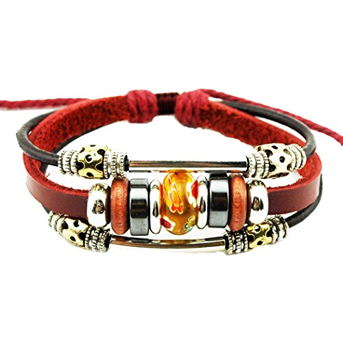 More Fun Flower Murano Beads Multilayer Red Leather Metal Tube Rope Wrap Bracelet (Orange)
