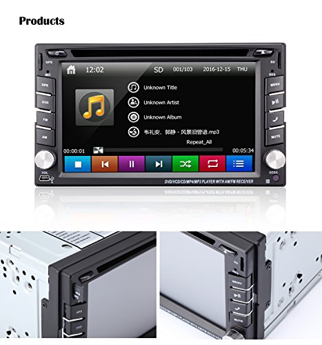6 2 double din car stereo car gps navigation ehotchpotch car radio head units touch screen. Black Bedroom Furniture Sets. Home Design Ideas