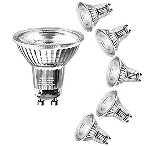 Bombillas LED GU10 MR16, Laluztop Blanco cálido 3000K 420LM 5W Lámpara Bajo Consumo No Regulable