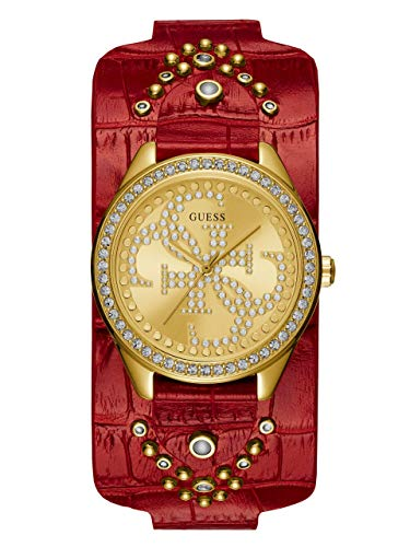 (GUESS Women's Stainless Steel Quartz Watch with Leather Calfskin Strap, red, 16 (Model: U1140L2))